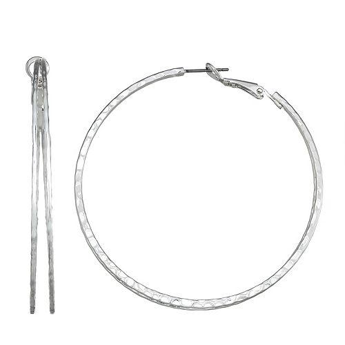 Dana Buchman Silver Tone Inner-Row Hoop Earrings