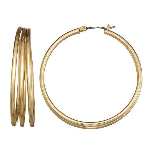 Dana Buchman Gold Tone Triple-Hoop Earrings