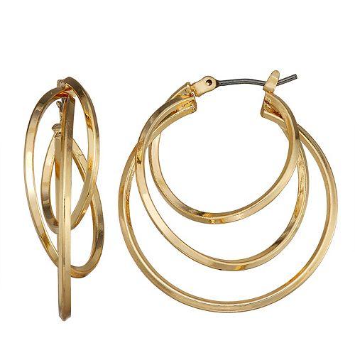 Dana Buchman Gold Tone Multi Row Hoop Earrings