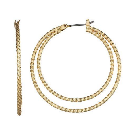 Dana Buchman Twisted Two Row Hoop Earrings
