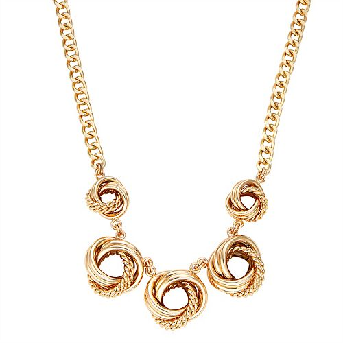 Dana Buchman Knot Drop Frontal Gold Necklace