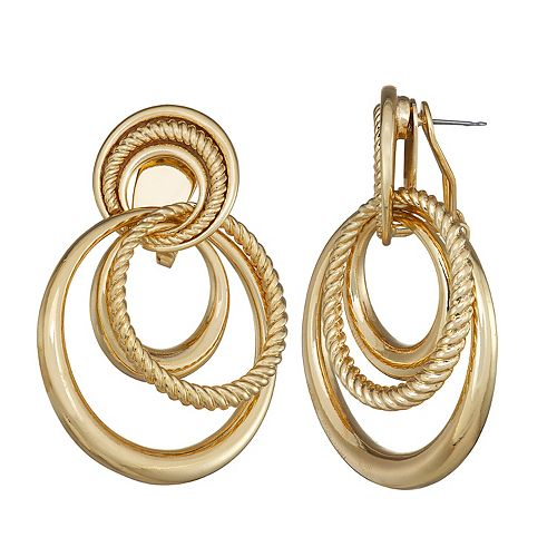 Dana Buchman Gold Knot Doorknocker Earrings