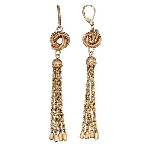 Dana Buchman Gold Knot Linear Tassle Post Earrings