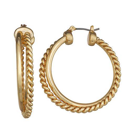 Dana Buchman Gold Rope Hoop Post Earrings