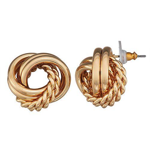 Dana Buchman Gold Knot Button Post Earrings