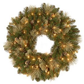 National Tree Co. 24-in. Carolina Pine Wreath & Battery Operated LED Lights