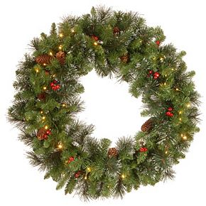 National Tree Co. 30-in. Crestwood Spruce Wreath & Battery Operated Warm White LED Lights
