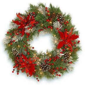 National Tree Co. 30-in. Tartan Plaid Wreath & Battery Operated Warm White LED Lights