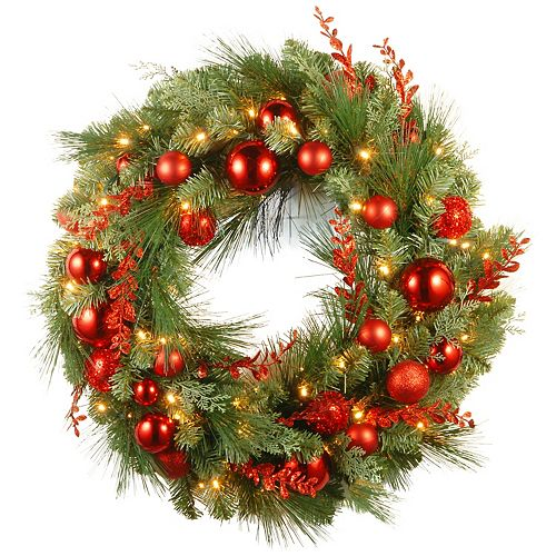 National Tree Co. 30-in. Christmas Red Mixed Wreath & Battery Operated Warm White LED Lights