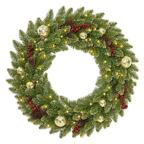 National Tree Co. 24 -in. Glittery Gold Dunhill Fir Wreath & Battery Operated LED Lights