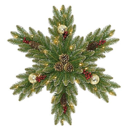 National Tree Co. 32 -in. Glittery Gold Dunhill Fir Snowflake & Battery Operated LED Lights