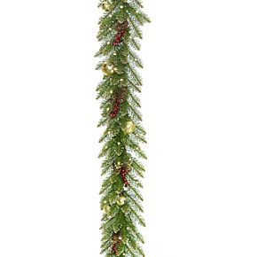 National Tree Co. 9-ft. Glittery Gold Dunhill Fir Garland & Battery Operated LED Lights