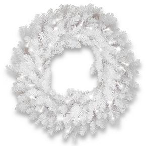 National Tree Co. 30-in. Dunhill White Fir Wreath & Clear Lights