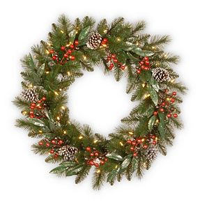 National Tree Co. 30-in. Frosted Pine Berry Wreath & Battery Operated LED Lights