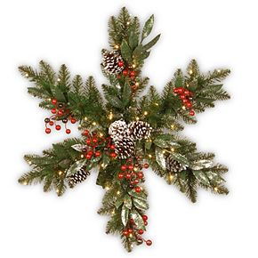 National Tree Company 32in. Frosted Pine Berry Snowflake with Battery Operated LED Lights