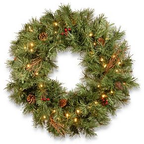 """National Tree Company 30"""" Glistening Pine Wreath with Battery Operated LED Lights"""