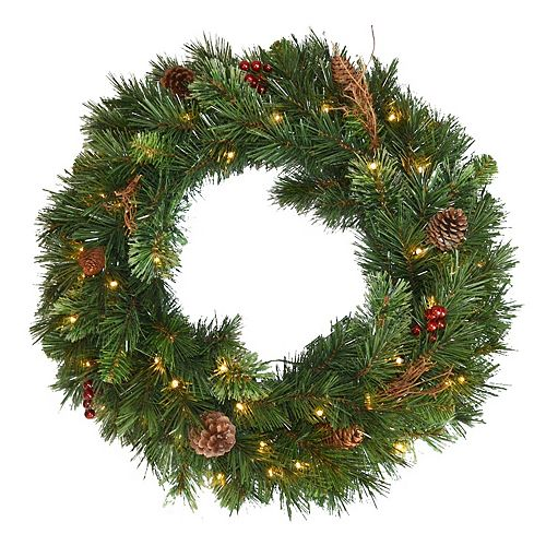"""National Tree Company 36"""" Glistening Pine Wreath with Battery Operated LED Lights"""
