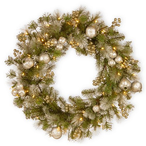 National Tree Co. 24-in. Glittery Pomegranate Pine Wreath & Battery Operated LED Lights