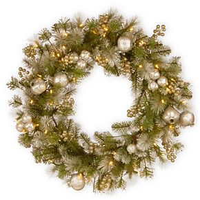 """National Tree Company 30"""" Glittery Pomegranate Pine Wreath with Battery Operated LED Lights"""