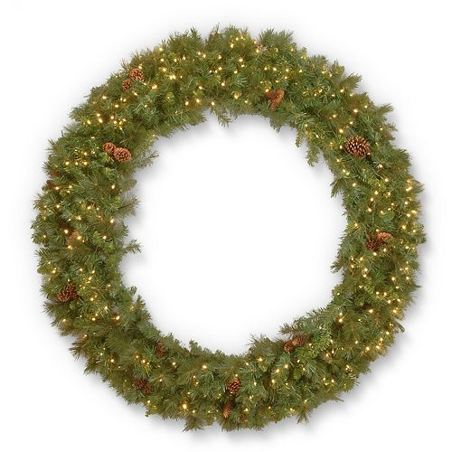 "National Tree Company 72"" Garwood Spruce Wreath with Warm White LED Lights"