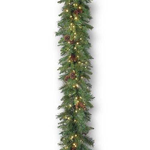 National Tree Company 9 ft. Garwood Spruce Garland with Warm White LED Lights