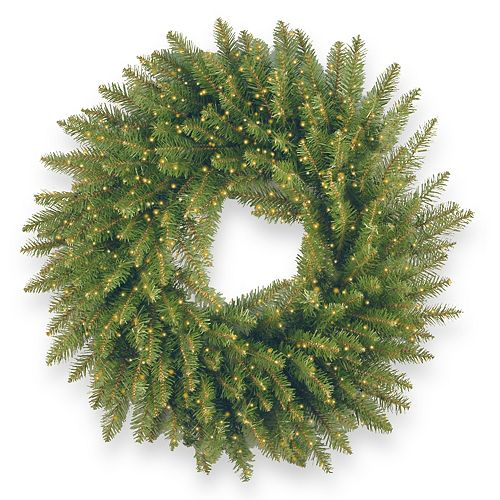 National Tree Co. 30-in. Kingswood Fir Wreath & Battery Operated Dual Color LED Lights