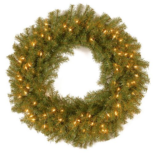 National Tree Company 36 in. Norwood Fir Artificial Wreath with Battery Operated Dual Color® LED Lights