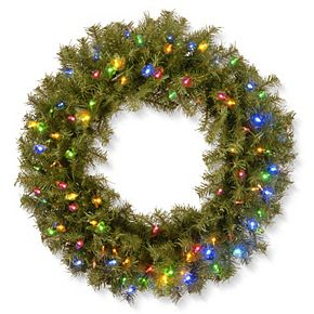 National Tree Co. 30-in. Norwood Fir Wreath & Battery Operated Multicolor LED Lights