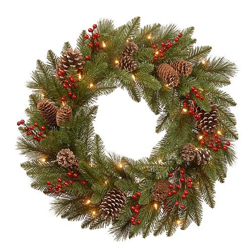National Tree Co. 24-in. Bristle Berry Wreath & Battery Operated LED Lights