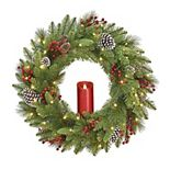 National Tree Co. 24-in. Battery Operated Bristle Berry Wreath & Single Candle