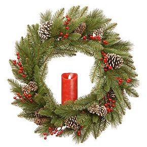 National Tree Co. 24-in. Bristle Berry Wreath & Single Candle