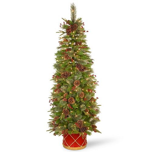 National Tree Co. 6-ft. Colonial Slim Half Tree & Clear Lights