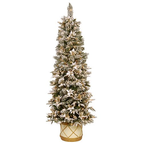 National Tree Co. 6-ft. Frosted Colonial Slim Half Tree & Clear Lights