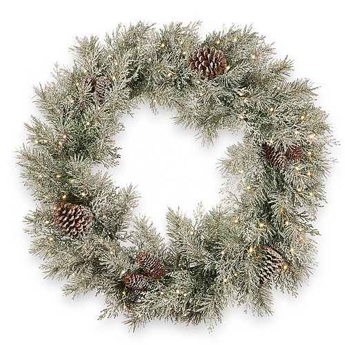 National Tree Co. 30-in. Frosted Mountain Spruce Wreath & Battery Operated LED Lights