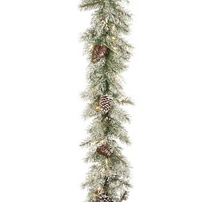 National Tree Co. 9-ft. Frosted Mountain Spruce Garland & Clear Lights