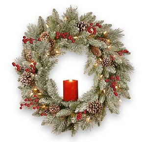 National Tree Co. 24-in. Battery Operated Snowy Bristle Berry Wreath & Single Candle
