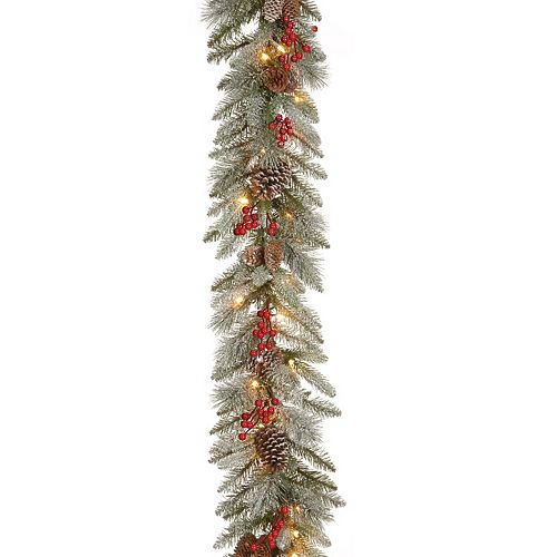 National Tree Company 9 ft. Snowy Bristle Berry Garland with Clear Lights