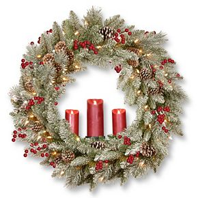 National Tree Co. 36-in. Battery Operated Snowy Bristle Berry Wreath & Three Candle