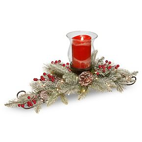 National Tree Company 30in. Snowy Bristle Berry Candle Holder Centerpiece with Battery Operated LED lights