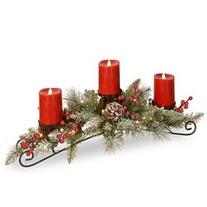 National Tree Co. 30-in. Battery Operated Snowy Bristle Berry Centerpiece & Three Candles