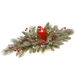 """National Tree Company 32"""" Snowy Bristle Berry Candle Holder Centerpiece with Battery Operated LED lights"""