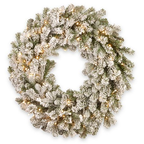 National Tree Company 30in. Snowy Sheffield Spruce Wreath with Battery Operated LED Lights