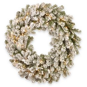 National Tree Company 24in. Snowy Sheffield Spruce Wreath with Battery Operated Warm White LED Lights