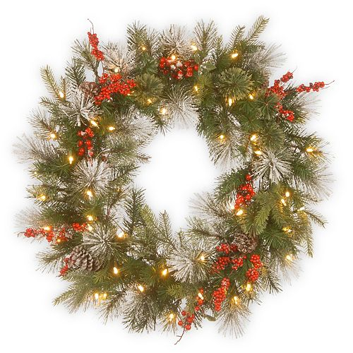 National Tree Company 30in. Wintry Berry Wreath with Battery Operated LED Lights