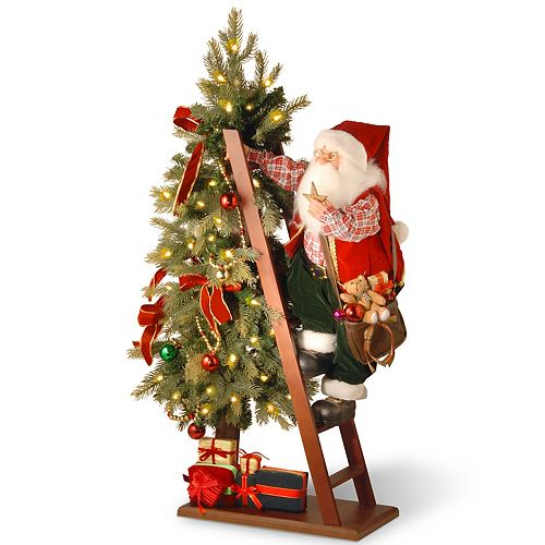 """National Tree Company 42"""" Plush Collection Tree and Santa with Battery Operated LED Lights"""