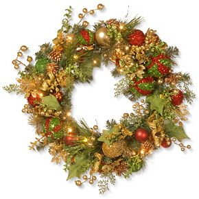 """National Tree Company 30"""" Decorated Christmas Wreath with Battery Operated LED Lights"""