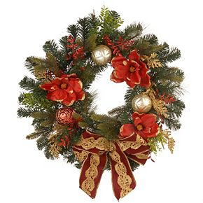 "National Tree Company 24"" Decorative Wreath with Ornaments & Bows"