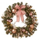 National Tree Company 28 in. Decorated Pine Wreath with Battery Operated LED Lights