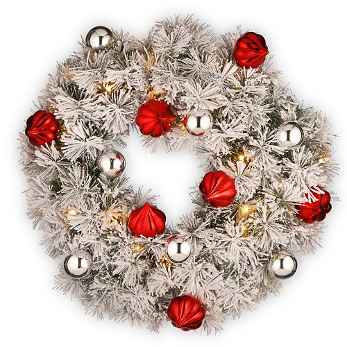 """National Tree Company 24"""" Snowy Bristle Pine Wreath with Battery Operated LED Lights"""