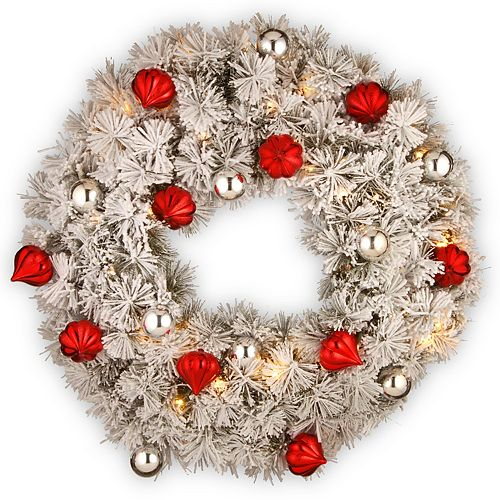 "National Tree Company 30"" Snowy Bristle Pine Wreath with Battery Operated LED Lights"